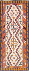 Flat-Weave Tribal Vegetable Dye Runner Kilim Abadeh Oriental Rug 4'x10'