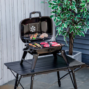 Portable Tabletop Charcoal Grill BBQ Camping Picnic Cooker Air Vent Outdoor