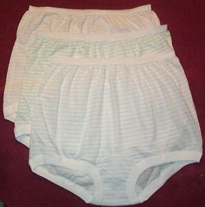 3 Pair 100% COTTON  BAND LEG PANTY Size 13 in Assorted Stripes U.S.A. Made