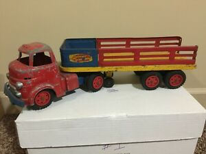Wyandotte Toys Construction Supply Co. Truck & Trailer. Vintage Made In U.S.A.