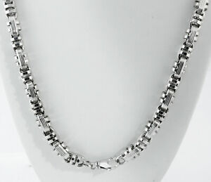 91 gm 14K White Gold Men's Italian Bullet Semi-Hollow Chain Necklace 26
