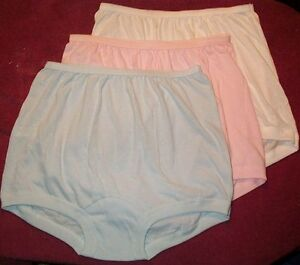 3 Pair 100% COTTON  BAND LEG PANTY Size 13 in Assorted Pastels   USA Made