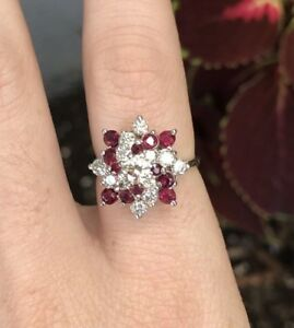 Diamond and Ruby 14K White Gold Cluster ring