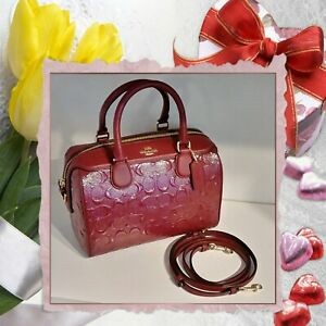 ❤ New Coach Bennett Signature Patent Leather Satchel Handbag sparkle Cherry Red