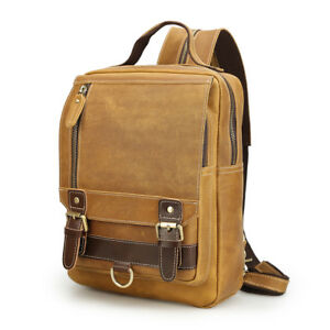 Real Leather Sling Chest Bag For Men Running Sport Travel Vintage Small Backpack