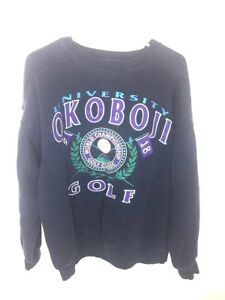 OKOBOJI UNIVERSITY Mens Medium Rare VINTAGE VTG Golf Collectible Sweatshirt f2