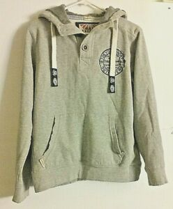 Tokyo Laundry Mens hooded sweatshirt  Size M Medium Gray 3 large buttons at Neck