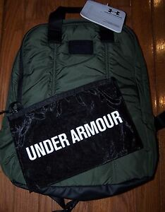 UA Storm Puffer Backpack w Mesh Pouch DOWNTOWN GREEN BLACK NWT $70 $45.00