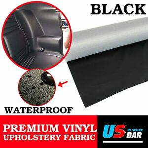 BLACK Faux Leather Outdoor Vinyl Fabric Upholstery Home Furniture Replace 54