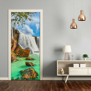 Self adhesive Door Wall wrap removable Peel & Stick Decal Landscapes Waterfall