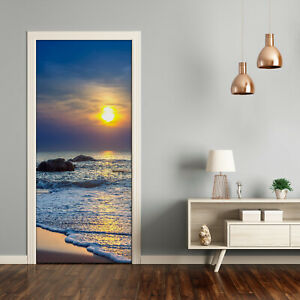 Self adhesive Door Wall wrap removable Peel & Stick Landscapes Sunset beach