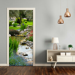 Self adhesive Door Wall wrap removable Peel & Stick Landscapes Asian garden