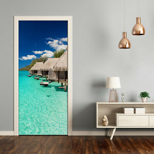 Self adhesive Door Wall wrap removable Peel & Stick Landscapes Tropical island