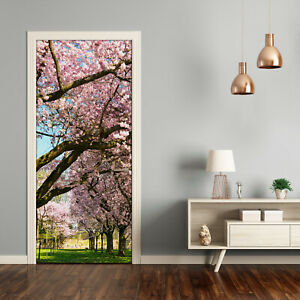 Self adhesive Door Wall wrap removable Peel & Stick Landscapes Cherry trees