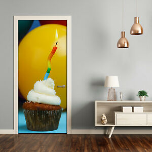 3D Home Art Door Self Adhesive Removable Sticker Decal Food Birthday cupcake $13.00