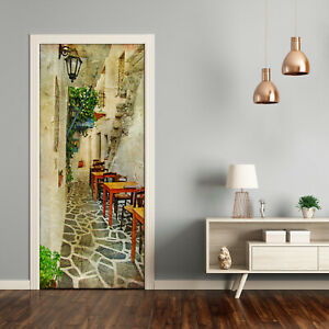 Self adhesive Door Wall wrap removable Peel & Stick Architecture Greek taverns