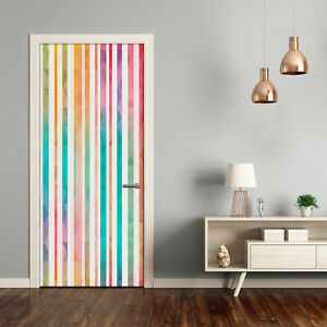 Self adhesive Door Wall wrap removable Peel & Stick Decal Colored stripes