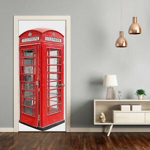Self adhesive Door Wall wrap removable Peel & Stick Decal telephone booth