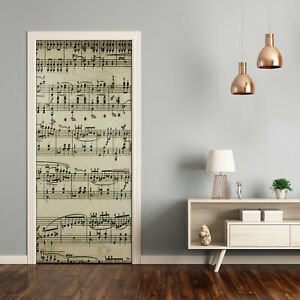 Self adhesive Door Wall wrap removable Peel & Stick Decal Music Sheet music