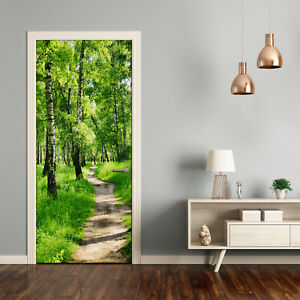 Self adhesive Door Wall wrap removable Peel & Stick Landscapes Birch forest