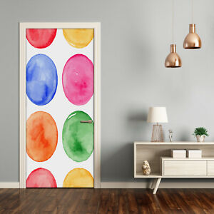 Self adhesive Door Wall wrap removable Peel & Stick Decal Colorful circles