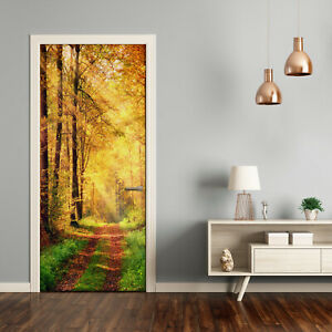Self adhesive Door Wall wrap removable Peel & Stick Landscapes Autumn forest