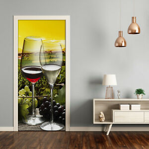 Self adhesive Door Wall wrap removable Peel & Stick Landscapes Wine and grapes