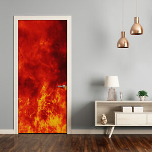 Self adhesive Door Wall wrap removable Peel & Stick Decal Flames