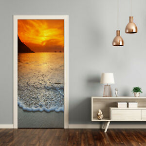 Self adhesive Door Wall wrap removable Peel & Stick Decal Landscapes Sunset
