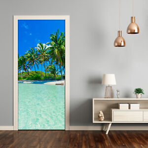 Self adhesive Door Wall wrap removable Peel & Stick Landscapes Tropical beach