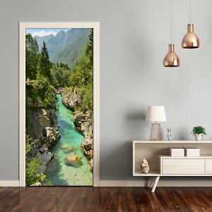 Self adhesive Door Wall wrap removable Peel & Stick Landscapes Mountain stream
