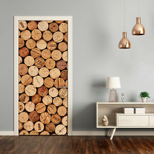 Self adhesive Door Wall wrap removable Peel & Stick Decal Corks of wine