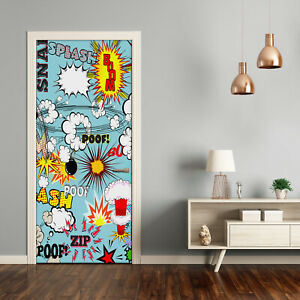 Self adhesive Door Wall wrap removable Peel & Stick Decal Teens Comic book