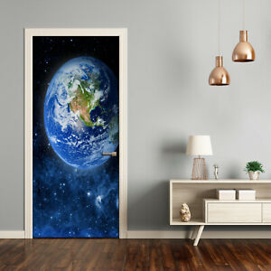 Self adhesive Door Wall wrap removable Peel & Stick Decal Universe Globe