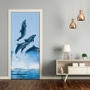 Self adhesive Door Wall wrap removable Peel & Stick Animals jumping Dolphins