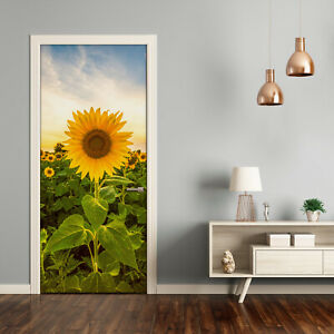 Self adhesive Door Wall wrap removable Peel & Stick Landscape Sunflower field