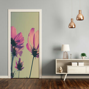 Self adhesive Door Wall wrap removable Peel & Stick Decal Vintage Pink flowers