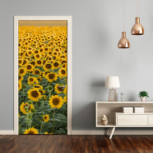 Self adhesive Door Wall wrap removable Peel & Stick Landscape Sunflowers field