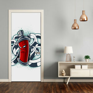 Self adhesive Door Wall wrap removable Peel & Stick Decal Teens Graffiti