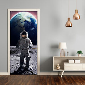 Self adhesive Door Wall wrap removable Peel & Stick Decal Universe Astronaut