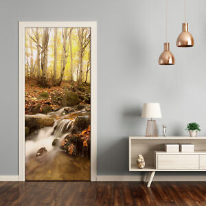 Self adhesive Door Wall wrap removable Peel & Stick Landscape Gold autumn