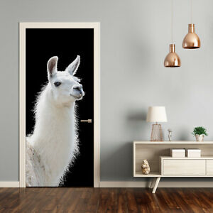 Self adhesive Door Wall wrap removable Peel & Stick Animals white Lama