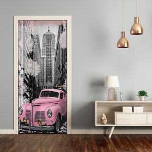 Self adhesive Door Wall wrap removable Peel & Stick Decal Vintage Pink car