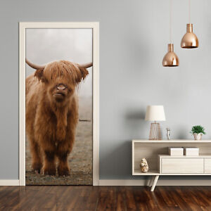 Self adhesive Door Wall wrap removable Peel & Stick Animals Highland cow