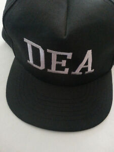 black Embroidered baseball hat cap adjustable snapback with letters DEA