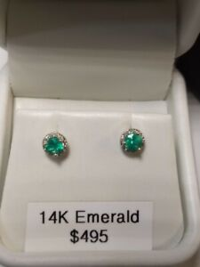 14k White Gold Natural Emerald & Diamond Halo Earrings - Wonderful Color!