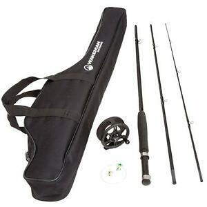 Fly Fishing Rod and Reel Combo with Carrying Case Bag 3 Piece 8 Feet Long Black
