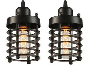 Rustic Pendant Lights Fixture Vintage Industrial Mini Indoor Kitchen Caged Set 2