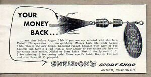 1954 Print Ad Mepps Super Shimmy French Spinner Fishing Lures Sheldons AntigoWI