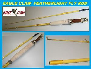 EAGLE CLAW Featherlight 4 Line Weight Fly Rod 2 Piece Yellow 7#x27; #FL300 7 $35.99